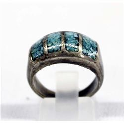 1950 Navajo Sterling Inlay Turquoise Ring, Sz 7.5