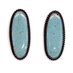 1960's Navajo Silver Turquoise Earrings by Graves