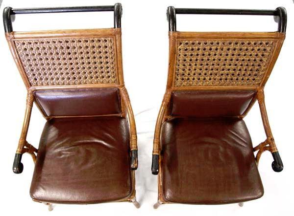 Fine Mid 1900S Rattan Sleigh Chairs Leather Seats Spiritservingveterans Wood Chair Design Ideas Spiritservingveteransorg