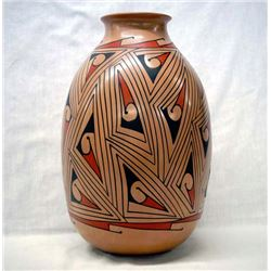 Large Mata Ortiz Polychrome Geometric Jar by Tena