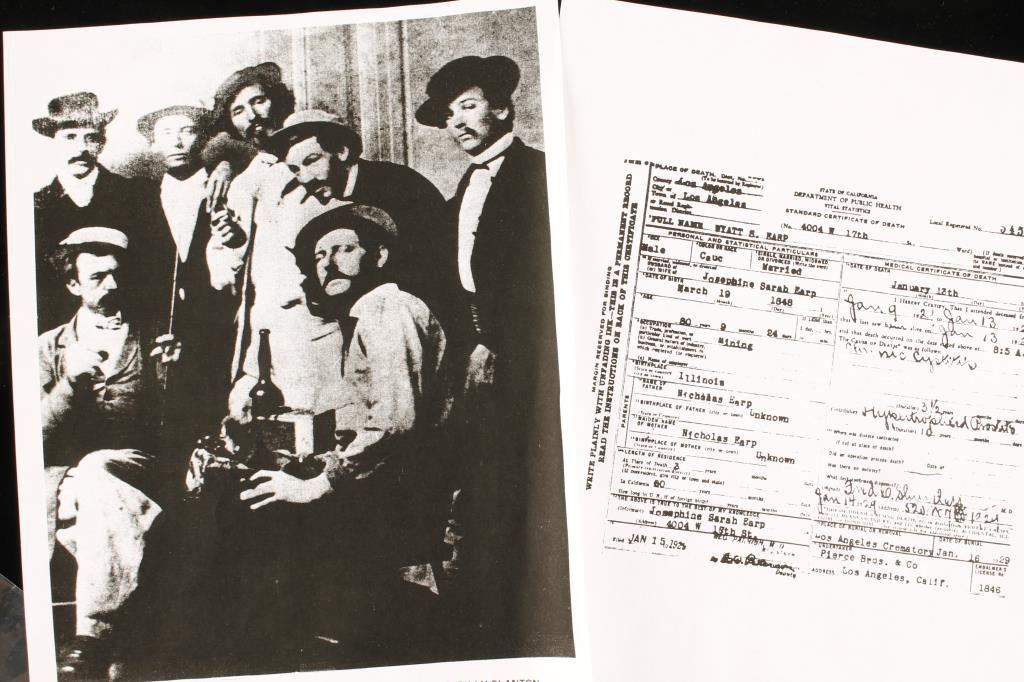 Xerox copy of LA County death certificate for Wyatt S  Earp