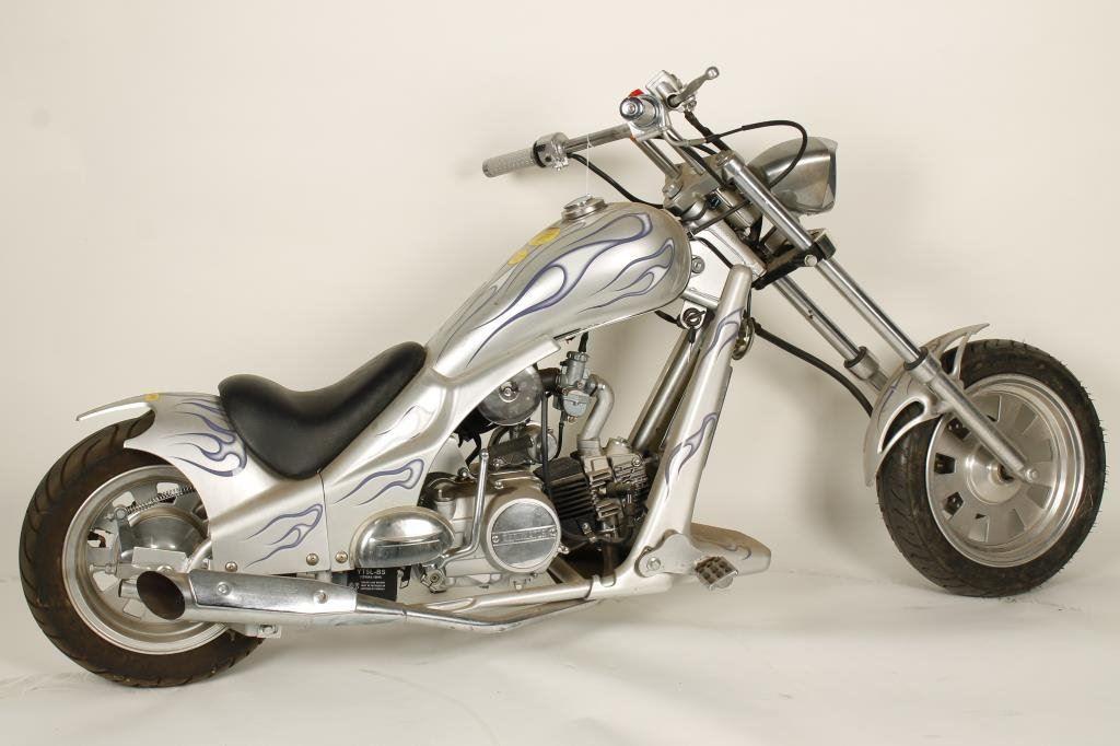 Mini-bike in chopper style marked Terminator on the engine