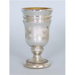Bauernsilber Pokal Mundgeblasenes Glas Umlaufend Weisse Blumendekoration Kuppa Im Inneren Verg
