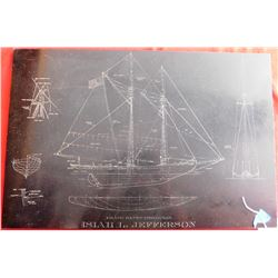 Rare Isiah L. Jefferson Fisherman Ship Diagram on Slate