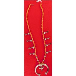 Early Sterling Silver and Coral Navajo Squash Blossom