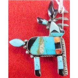 Zuni Sterling Silver Donkey Pin