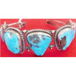 Turquoise and Sterling Silver Navajo Bracelet