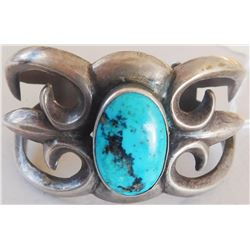 Navajo Sandcast Sterling Silver & Turquoise Cuff