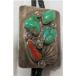 Navajo Sterling Silver and Turquoise and Coral Bolo Tie