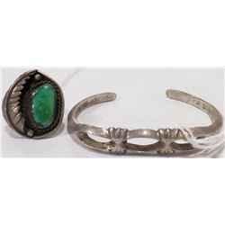 Navajo Sandcast Bracelet and Ring
