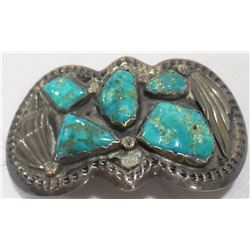 Navajo Sterling Silver and Turquoise Buckle