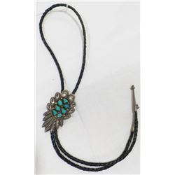 Navajo Sterling Silver and Turquoise Bolo Tie from the 1950's