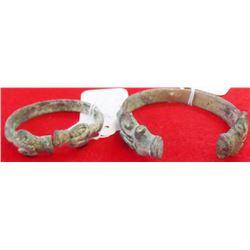 Two Double Ram Effigy Bronze Cuffs