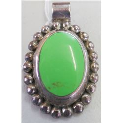 Taxco Sterling Silver Pendant with Green Stone