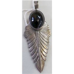 Navajo Sterling and Onyx Pendant