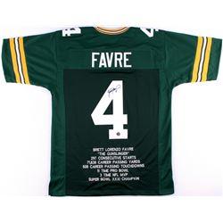 Brett Favre Signed Packers Career Highlight Stat Jersey (Favre COA)