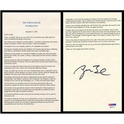 George W. Bush Signed 9/11 Ground Zero Speech (PSA LOA)