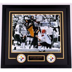 Antonio Brown Signed Steelers 26x28 Custom Framed Photo Display (TSE)