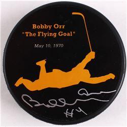 """Bobby Orr Bruins Signed """"The Flying Goal"""" Commemorative Puck (Orr COA)"""