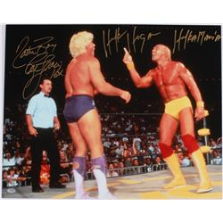 "Ric Flair & Hulk Hogan Signed 16x20 Photo Inscribed ""Nature Boy"", ""16x"" & ""Hulkamania"" (Schwartz COA"