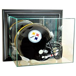 Wall Mounted Full-Size Football Helmet Display Case with Mirrored Back & Black Wood Frame (New)