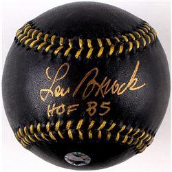 """Lou Brock Signed Black Leather Baseball Inscribed """"HOF 85"""" (MLB)"""
