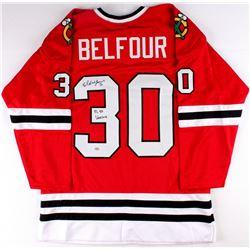 """Ed Belfour Signed Blackhawks Jersey Inscribed """"91, 93 Vezina"""" (Schwartz COA)"""