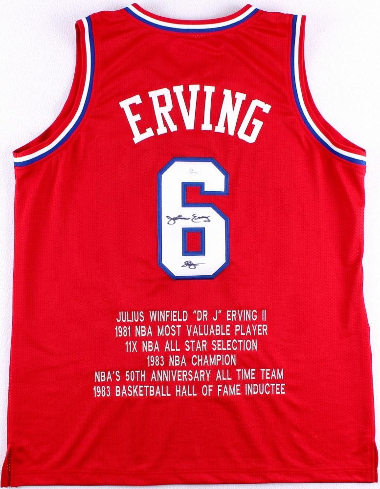 new arrival 694b7 33dac Julius Erving Signed 76ers Career Highlight Stat Jersey ...