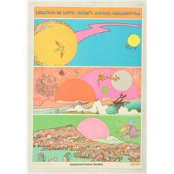 """Original Peter Max """"Breathe In Love """" Poster"""