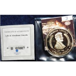 2011 Life of Abraham Lincoln - Gettysburg Address Medal. Material: Cu, layered in 24k Gold; Quality:
