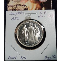 1935BP Hungary 2 Pengo. Proof. KM 513. Proof R/S.  Very Rare with a mintage of 50,000. Silver.