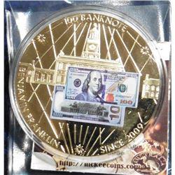 2010 American Mint Medal - Benjamin Franklin $100 Banknote. Material: Cu, layered in 24k Gold; Quali
