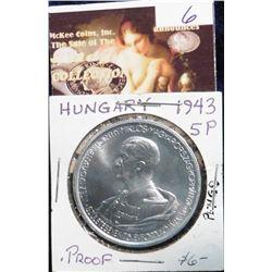 1943BP Hungary 5 Pengo. Proof. KM 523. Proof. Restrike.