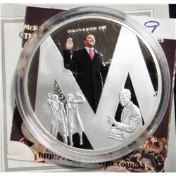 """2009 Life of Barack Obama """"M"""" Coin. Material: Cu, silver-plated with color portrait; Quality: Proof;"""