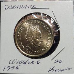 1995(h) LG, JP Denmark 20 Kroner. Margrethe II Wedding of Prince Joachim Coin. KM881. Gem BU.
