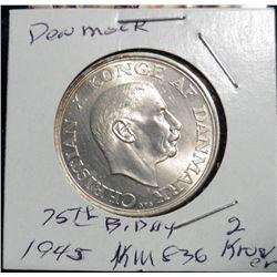1870-1945 Denmark 2 Kroner King's 75th Birthday. KM836.  .800 fine silver. Gem BU.