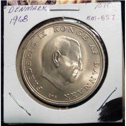 (ND)1968(h) C; S Denmark 10 Kroner .800 fine silver. Wedding of Princess Benedikte. Lightly toned BU