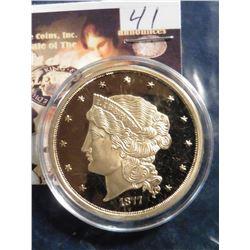 1877 U.S. Fifty Dollar Gold Piece Replica.  Material: Cu, layered in 24k Gold; Quality: Proof; Diame