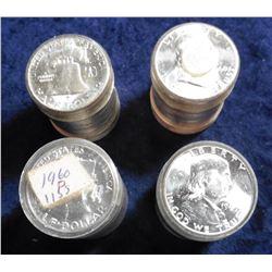 (4) 1960 P Gem BU Rolls of Franklin Halves. ($40.00 face value). CDN Bid Value is $1,120.00.