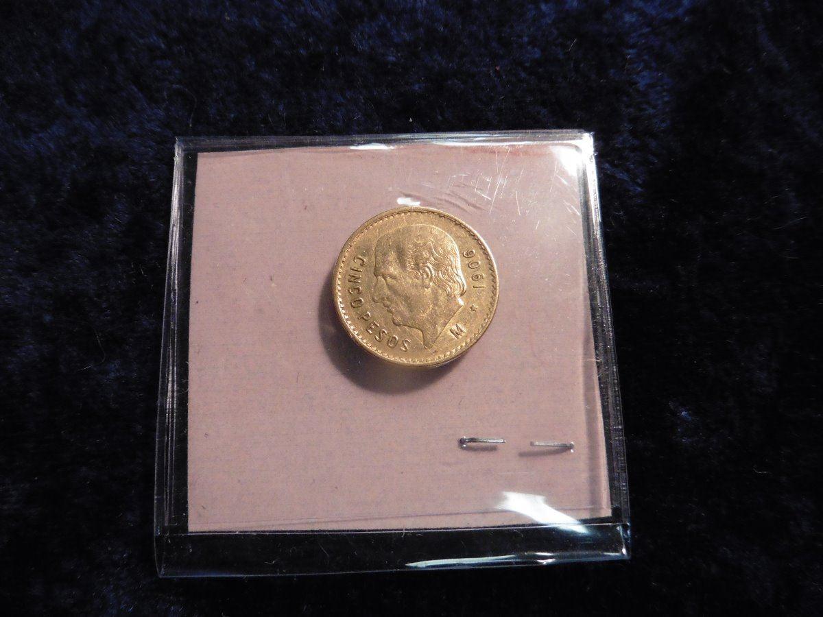 1906 Mexico Five Peso  900 fine Gold Piece  KM464  KM value $220 00   1206  oz  Fine Gold  EF
