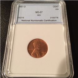 1951-D Lincoln Cent NNC MS67 Red