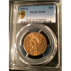 1899-S $10 Dollar Gold Liberty PCGS XF45 - 32958049