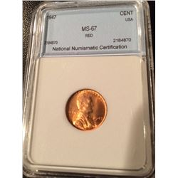 1947 Lincoln Cent NNC MS67 Red