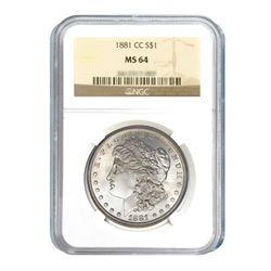 1881-CC $1 Morgan Silver Dollar - NGC MS64