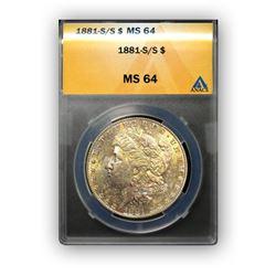 1881-S $1 Morgan Silver Dollar - ANACS MS64
