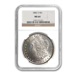 1882-S $1 Morgan Silver Dollar - NGC MS64