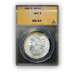 1887 $1 Morgan Silver Dollar - ANACS MS64