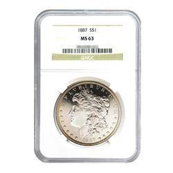 1887 $1 Morgan Silver Dollar - NGC MS63