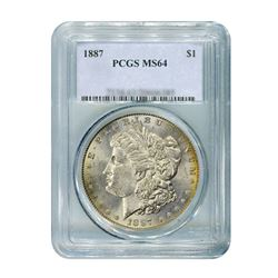 1887 $1 Morgan Silver Dollar - PCGS MS64