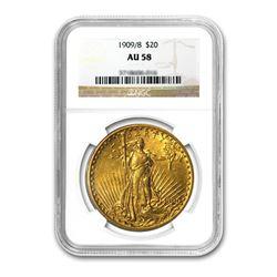 1909/8 $20 Saint Gaudens NGC AU58
